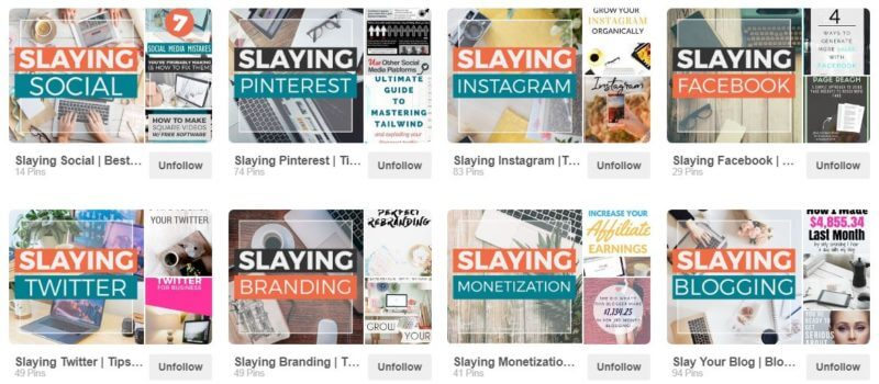 On the Slaying Social Pinterest account, we're covering more than just Social Media marketing tips. We also have boards for monetization, blogging, SEO, email marketing, and Entrepreneurship. Heck, we even have a board on Motivation. Will we ever write about these topics? Unlikely. But they're relevant to our audience, so they're important for our Pinterest account!