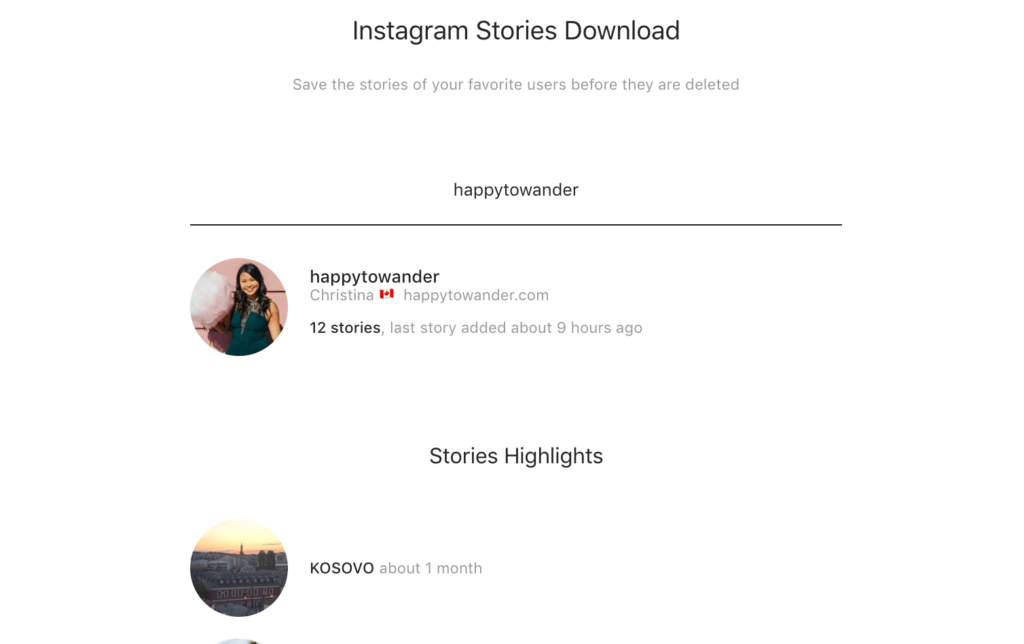 Download Instagram Stories with https://storiesig.com/, this screenshot shows how easy it is to download Instagram Stories from your account and others.